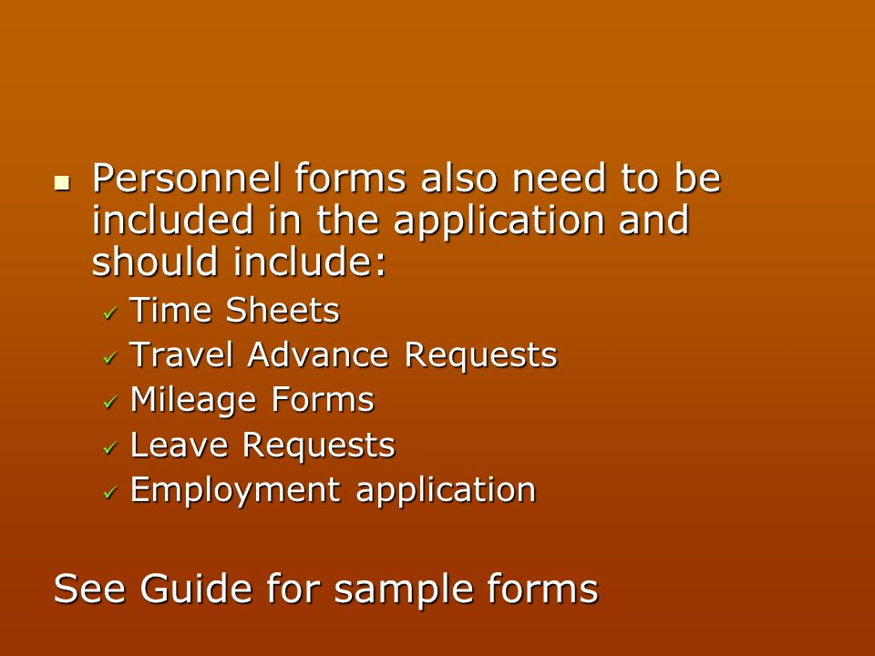 See Guide for sample forms