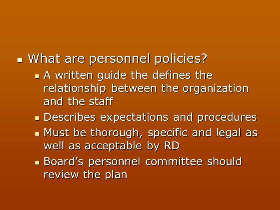 What are personnel policies