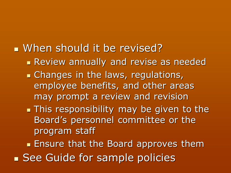 When should it be revised