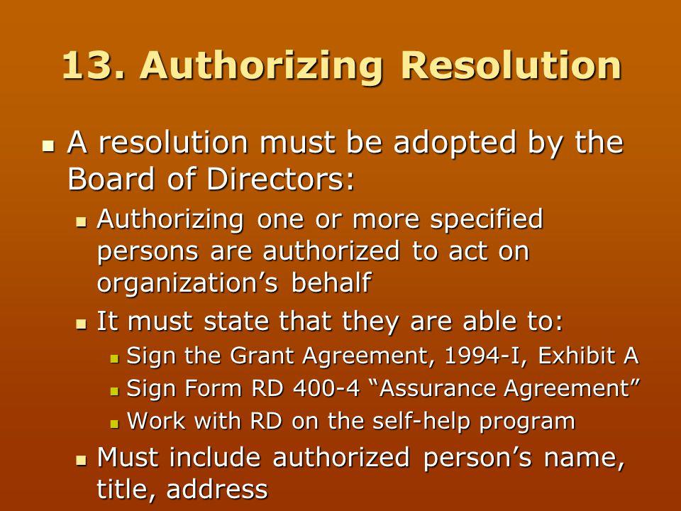 13. Authorizing Resolution
