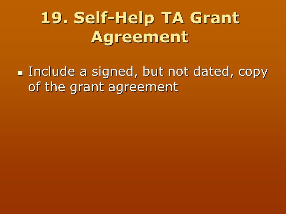 19. Self-Help TA Grant Agreement