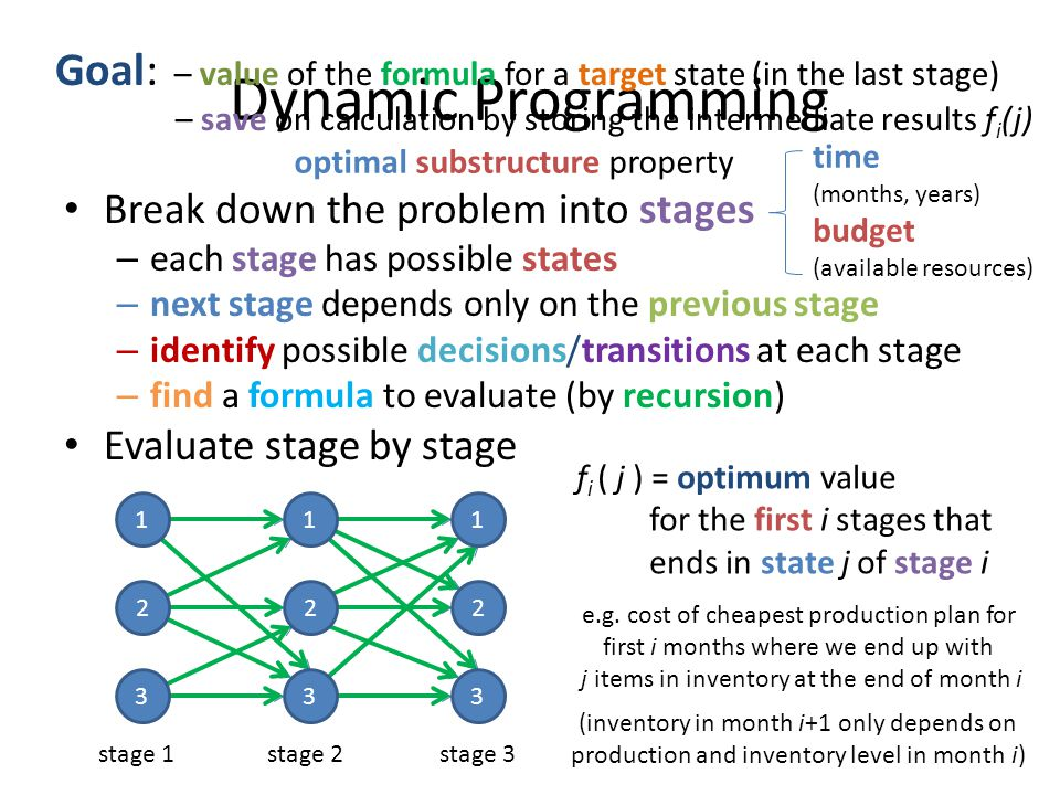 Goal: – value of the formula for a target state (in the last stage)