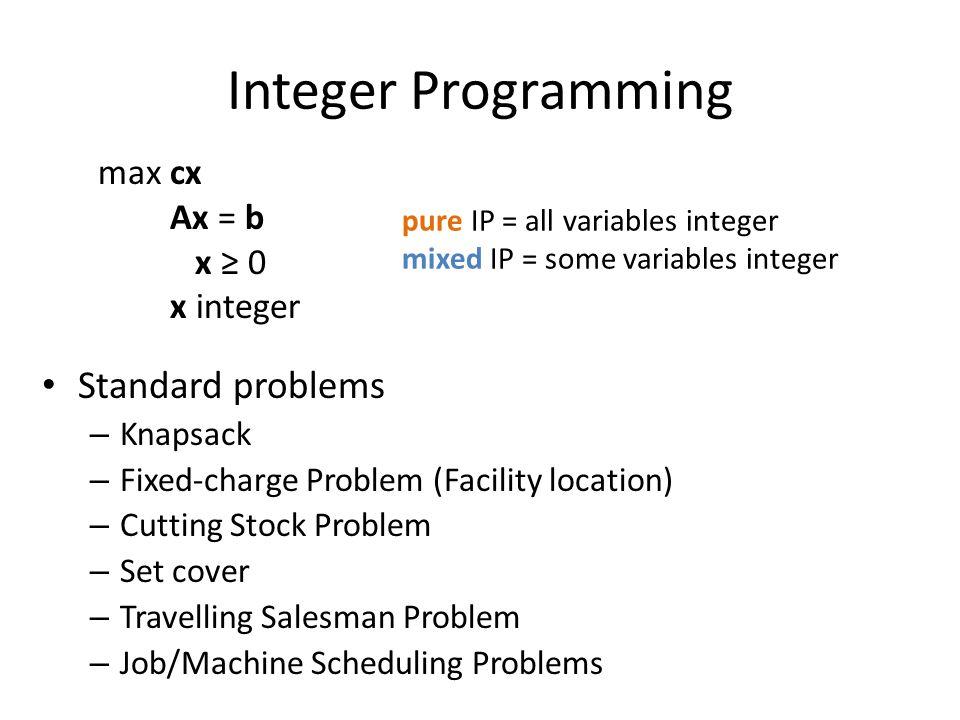 Integer Programming Standard problems max cx Ax = b x ≥ 0 x integer