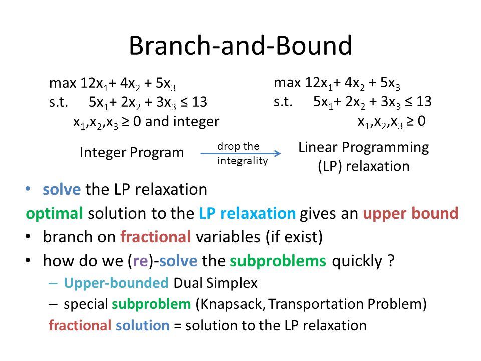 optimal solution to the LP relaxation gives an upper bound
