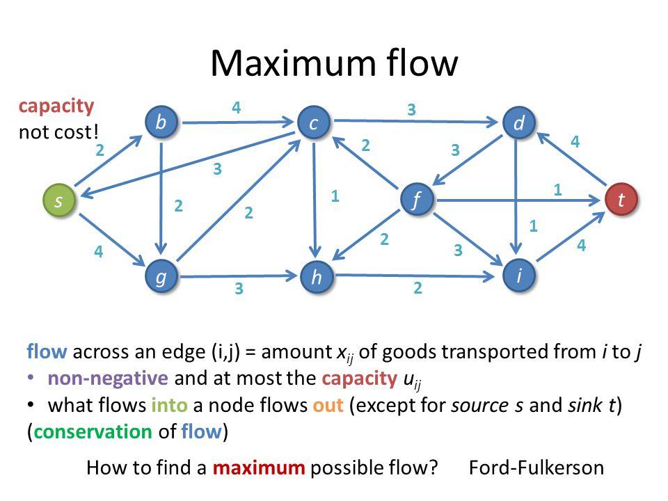 Maximum flow capacity not cost! b c d s f t g h i