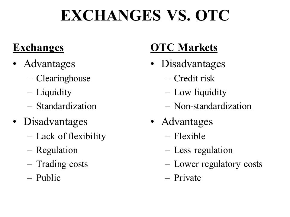 EXCHANGES VS. OTC Exchanges Advantages Disadvantages OTC Markets