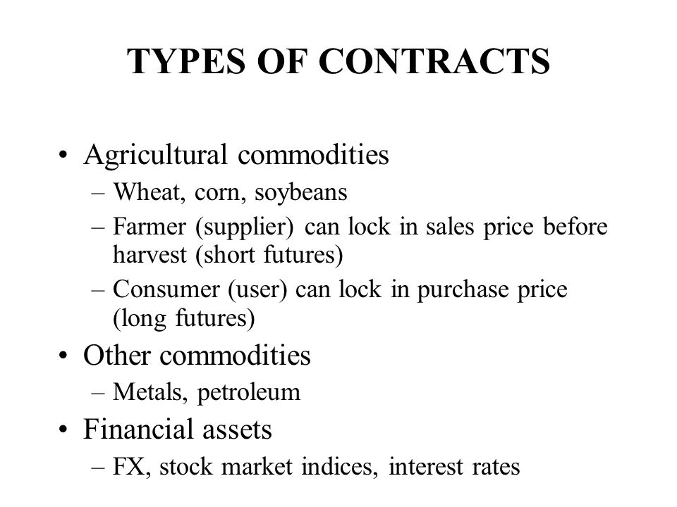 TYPES OF CONTRACTS Agricultural commodities Other commodities