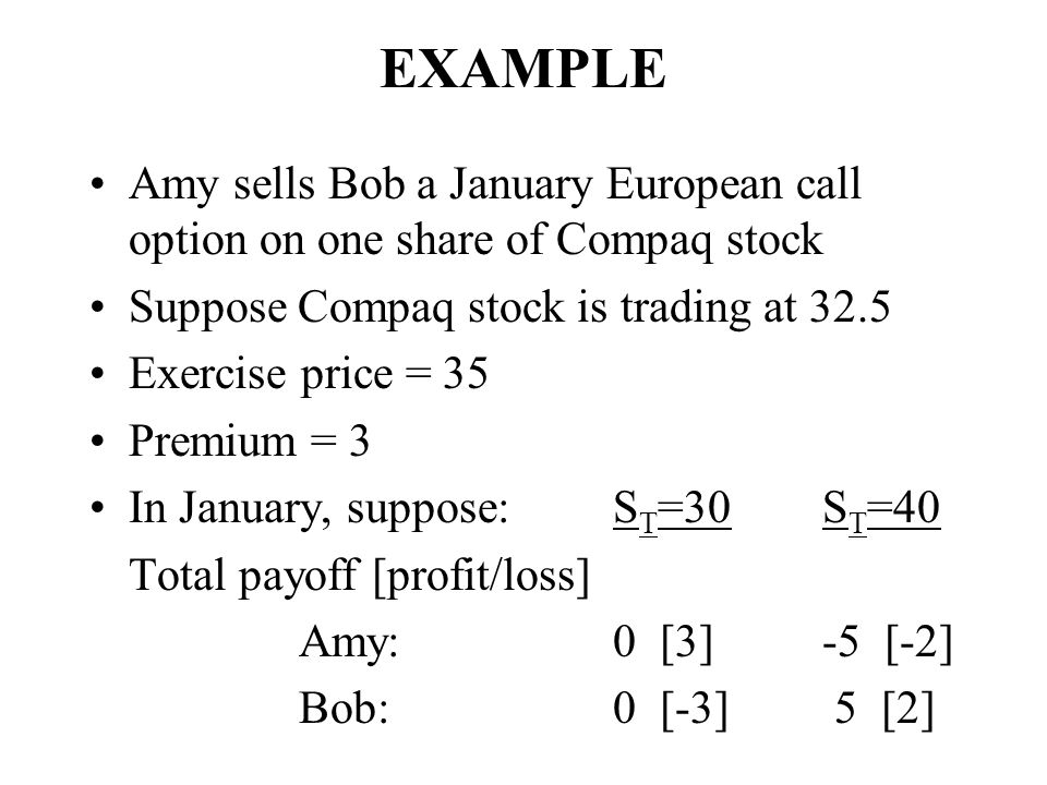 EXAMPLE Amy sells Bob a January European call option on one share of Compaq stock. Suppose Compaq stock is trading at 32.5.