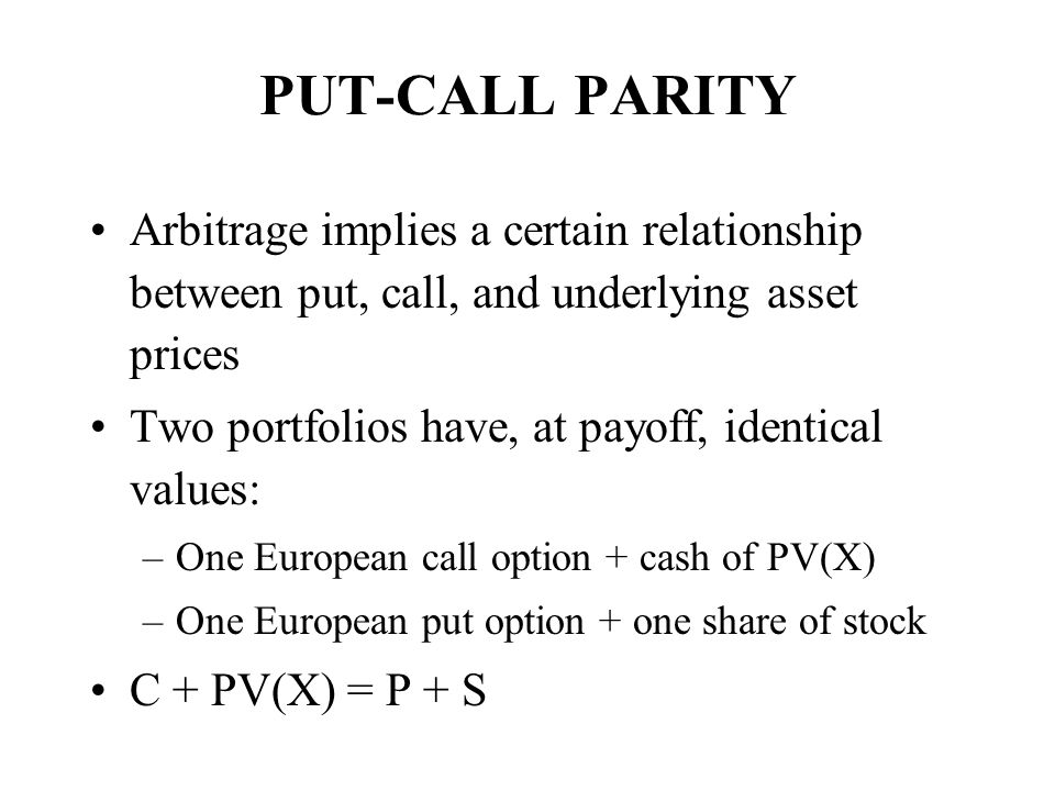 PUT-CALL PARITY Arbitrage implies a certain relationship between put, call, and underlying asset prices.