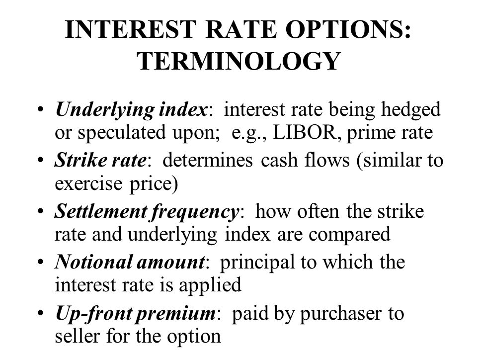 INTEREST RATE OPTIONS: TERMINOLOGY