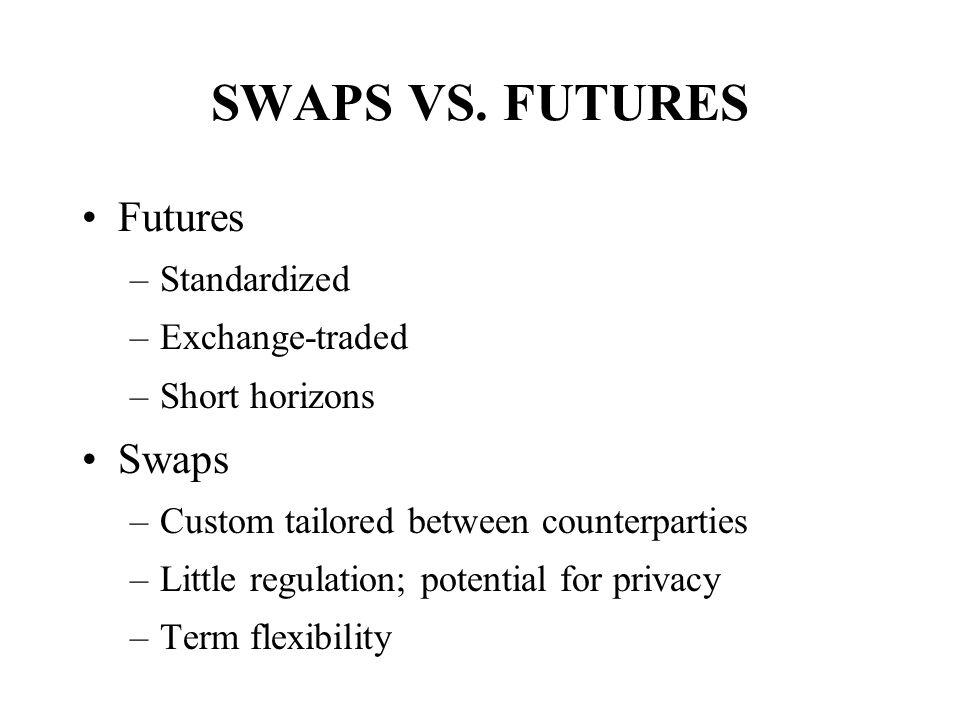 SWAPS VS. FUTURES Futures Swaps Standardized Exchange-traded
