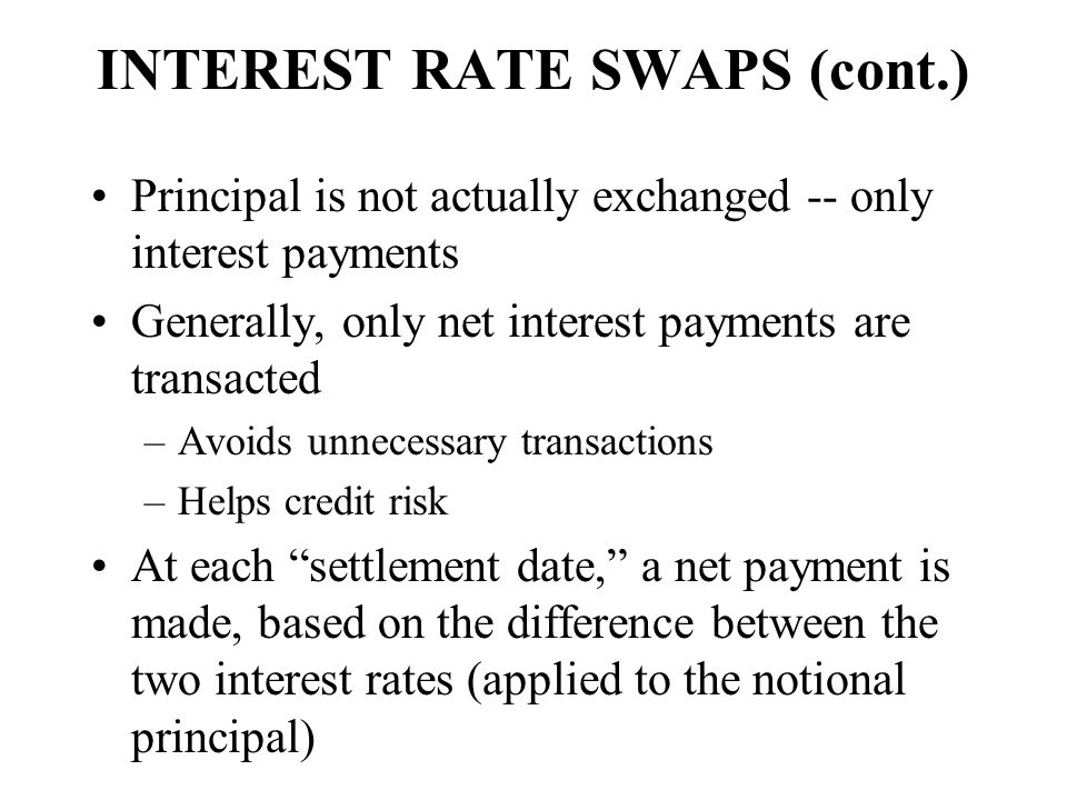 INTEREST RATE SWAPS (cont.)