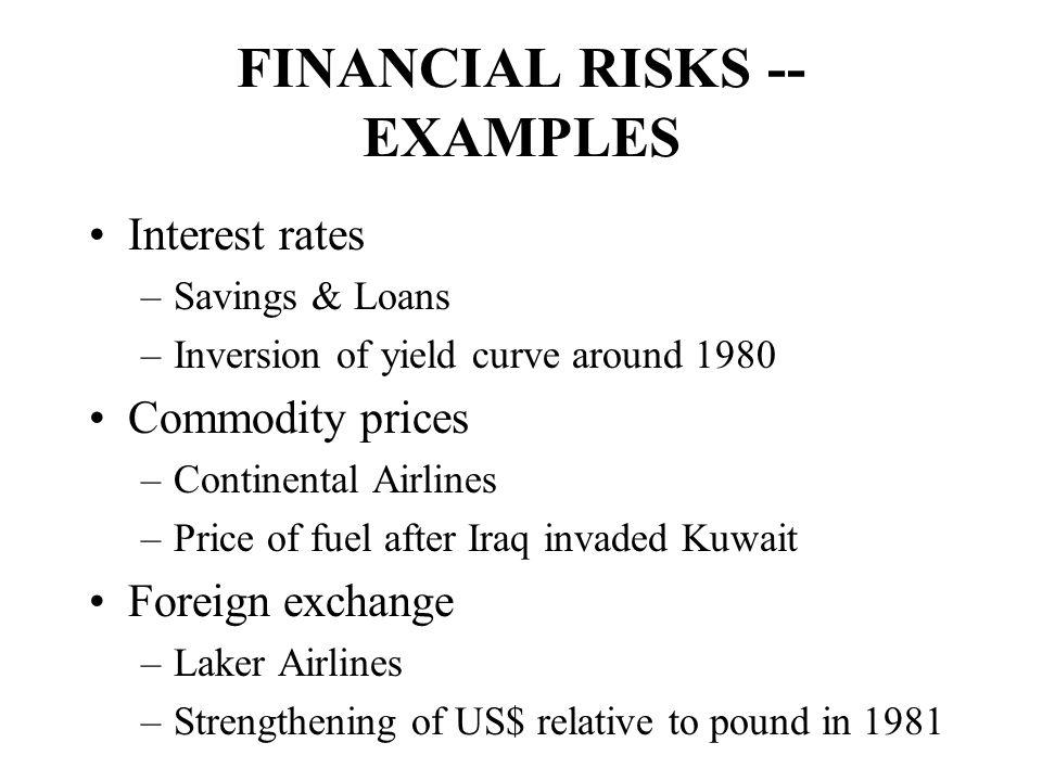 FINANCIAL RISKS -- EXAMPLES