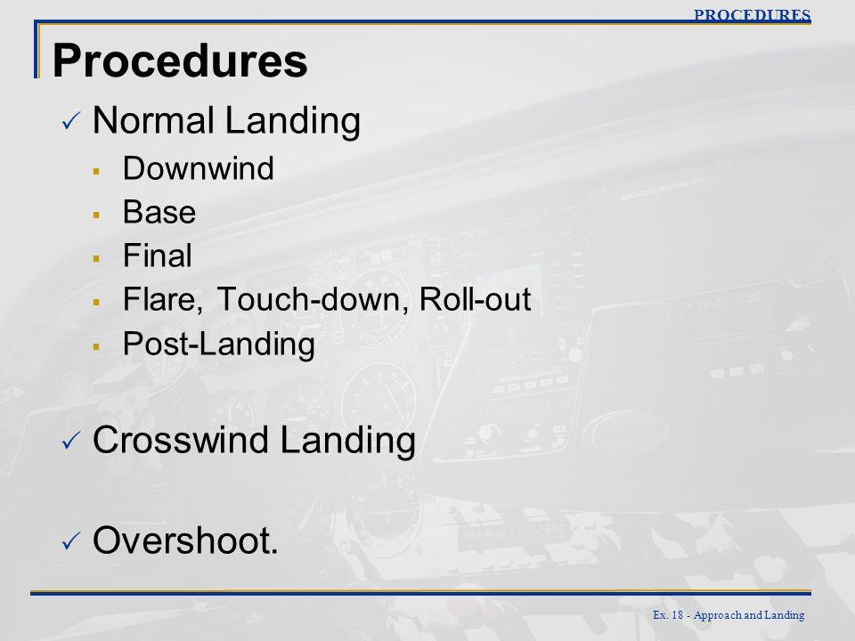 Procedures Normal Landing Crosswind Landing Overshoot. Downwind Base