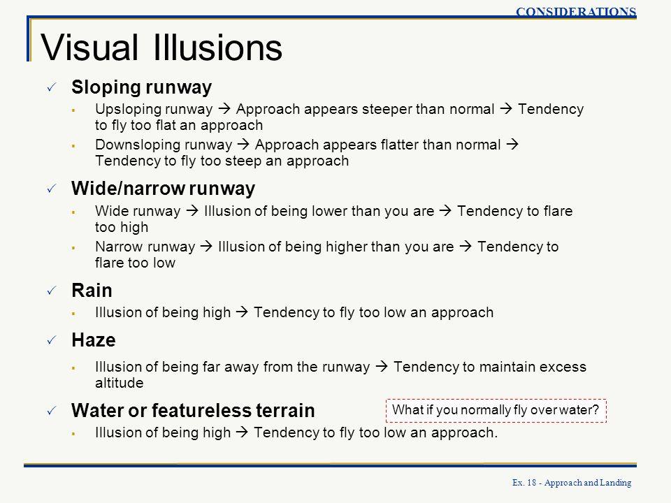 Visual Illusions Sloping runway Wide/narrow runway Rain Haze