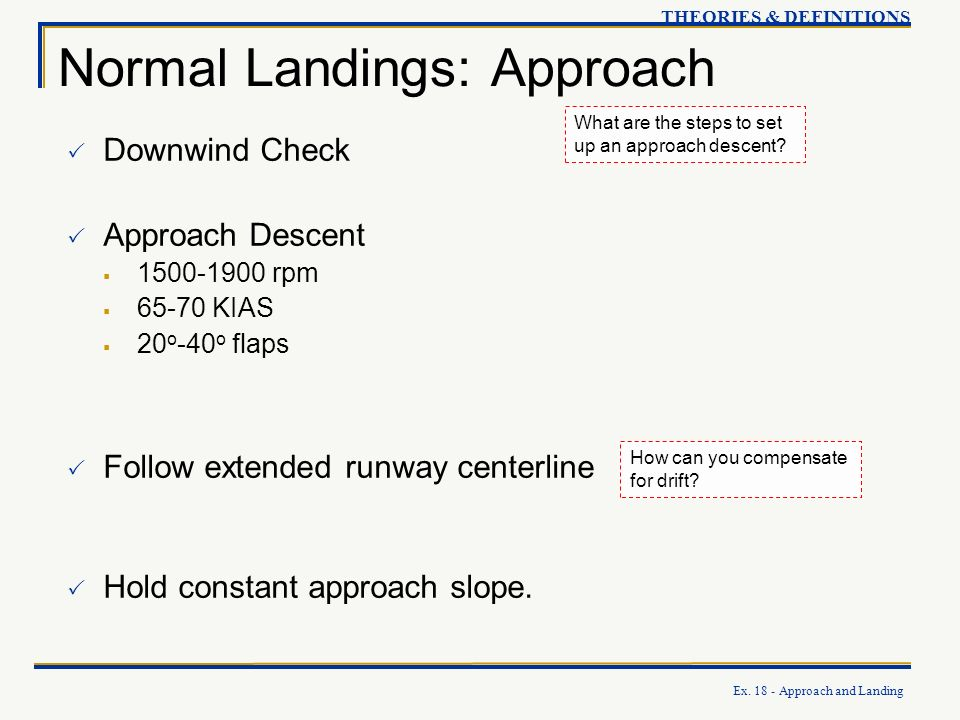 Normal Landings: Approach