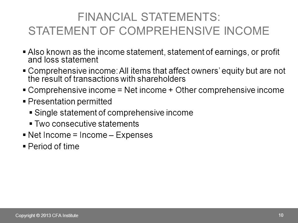 FINANCIAL STATEMENTS: statement of comprehensive income