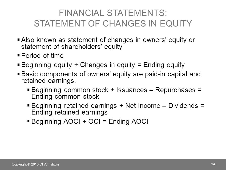 FINANCIAL STATEMENTS: statement of changes in equity