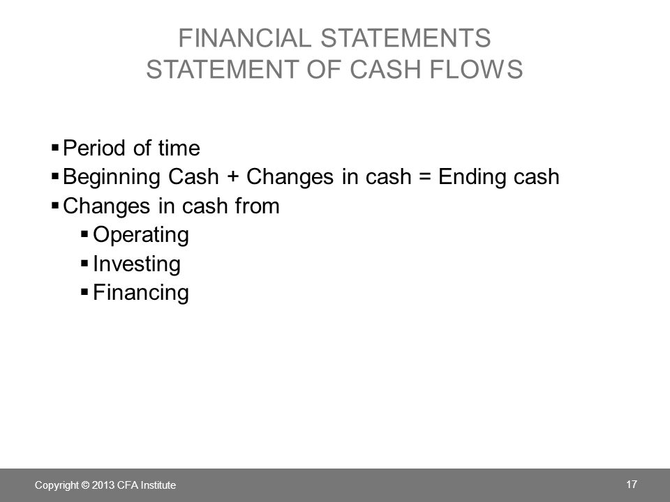 FINANCIAL STATEMENTS statement of CASH FLOWS