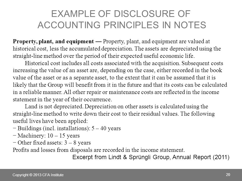 Example of disclosure of Accounting principles in notes