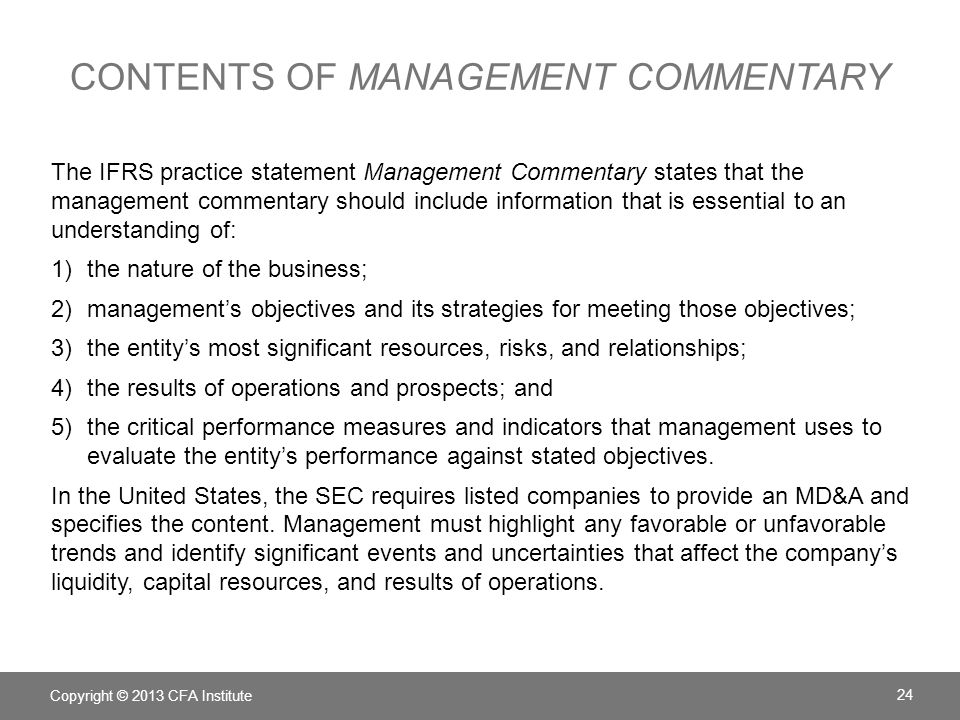 Contents of Management Commentary