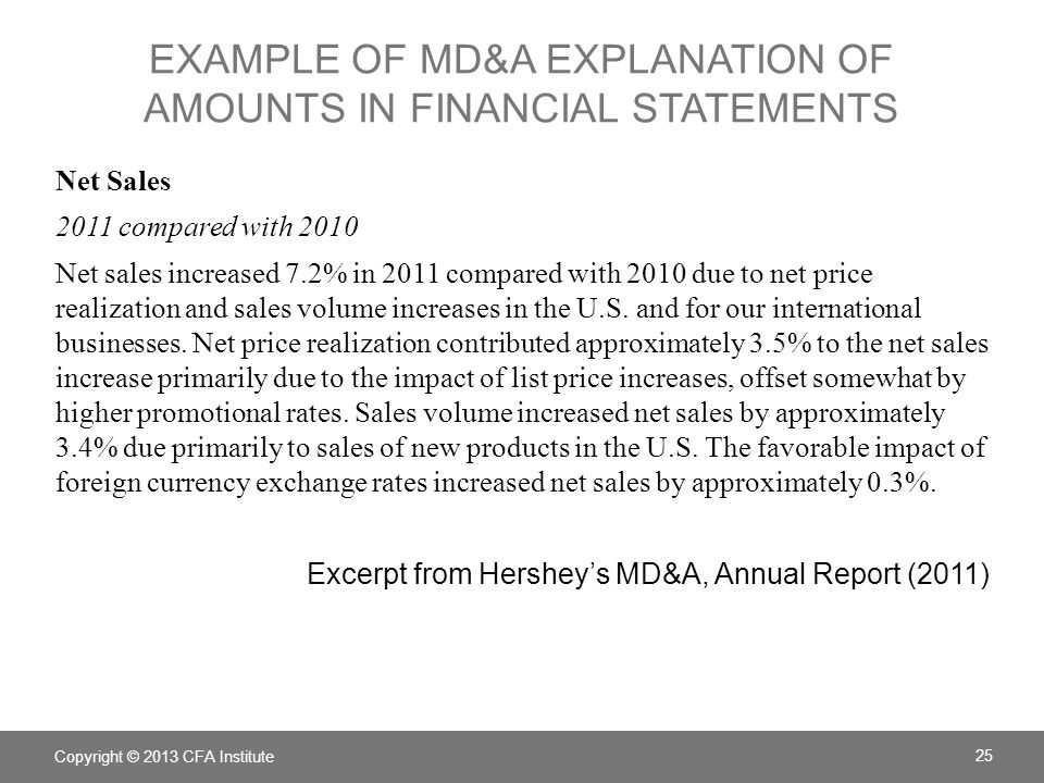 Example of MD&A explanation of amounts in financial statements