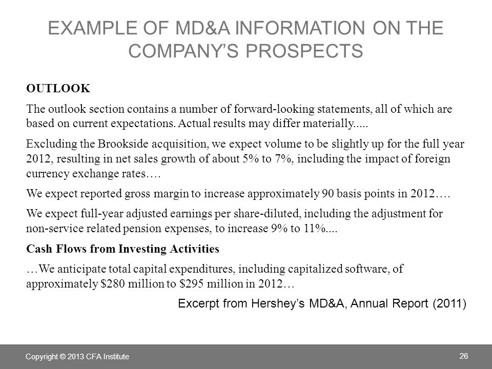 Example of MD&A information on the company's prospects