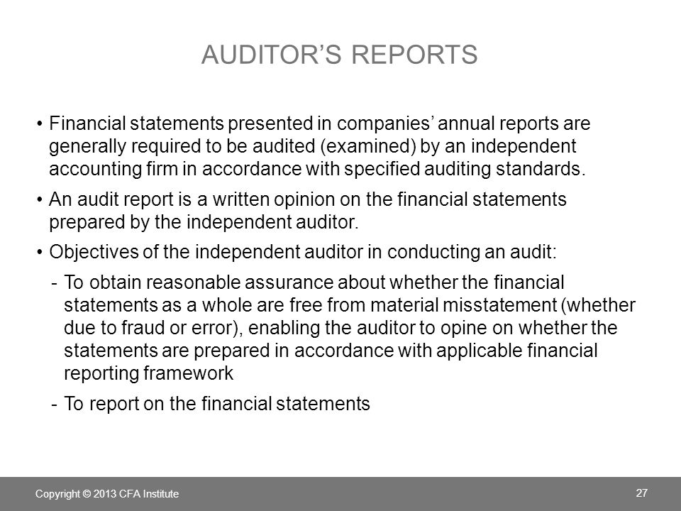 Auditor's reports