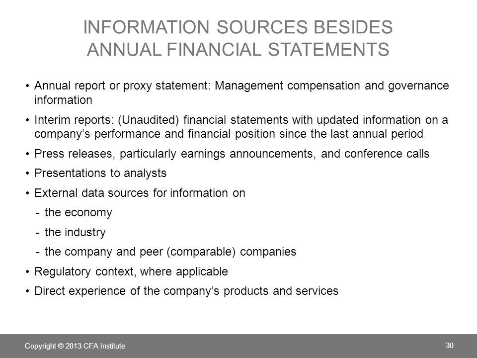information sources besides annual financial statements