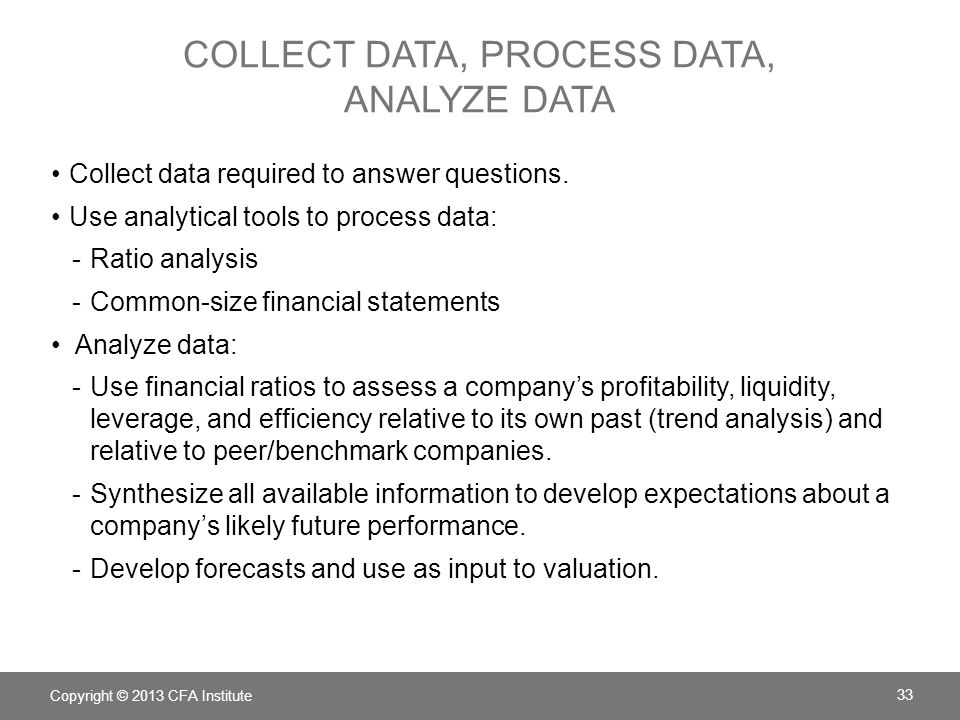 Collect data, process data, analyze data