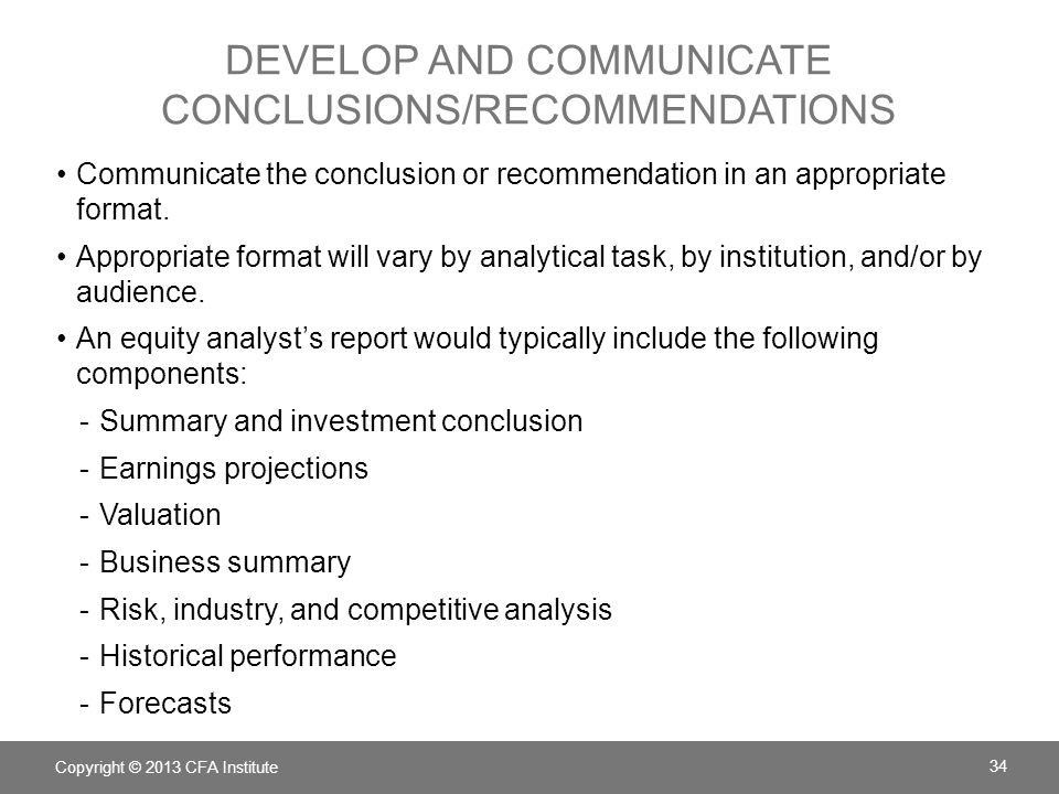Develop and Communicate Conclusions/Recommendations