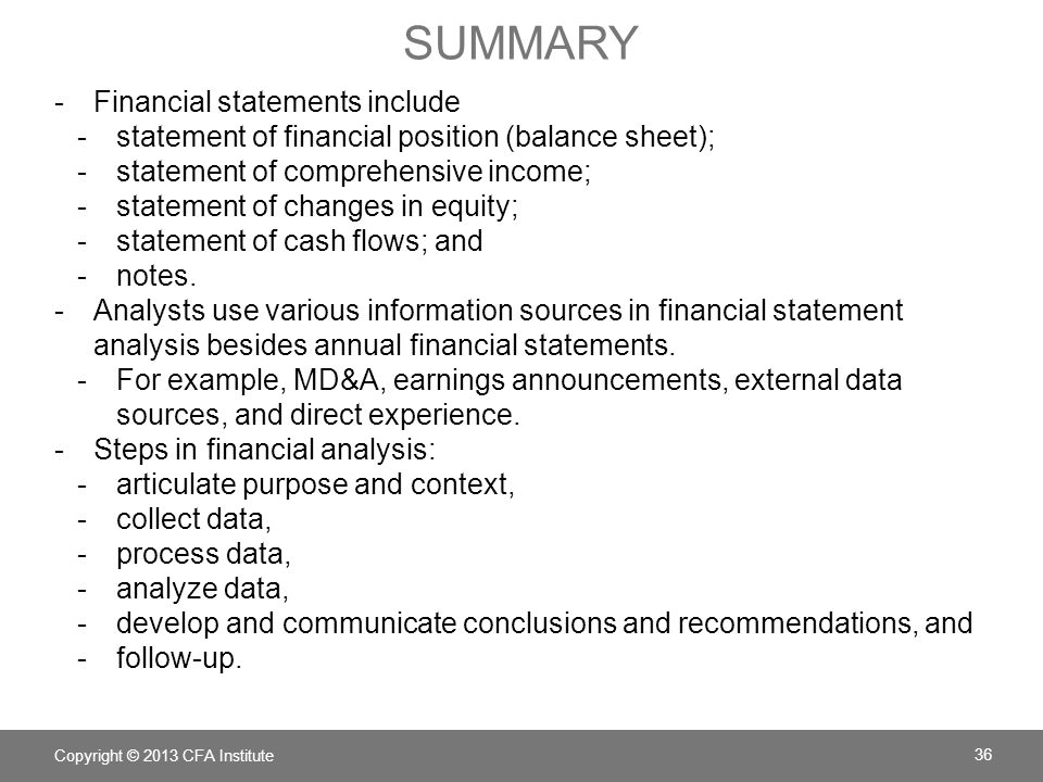 summary Financial statements include