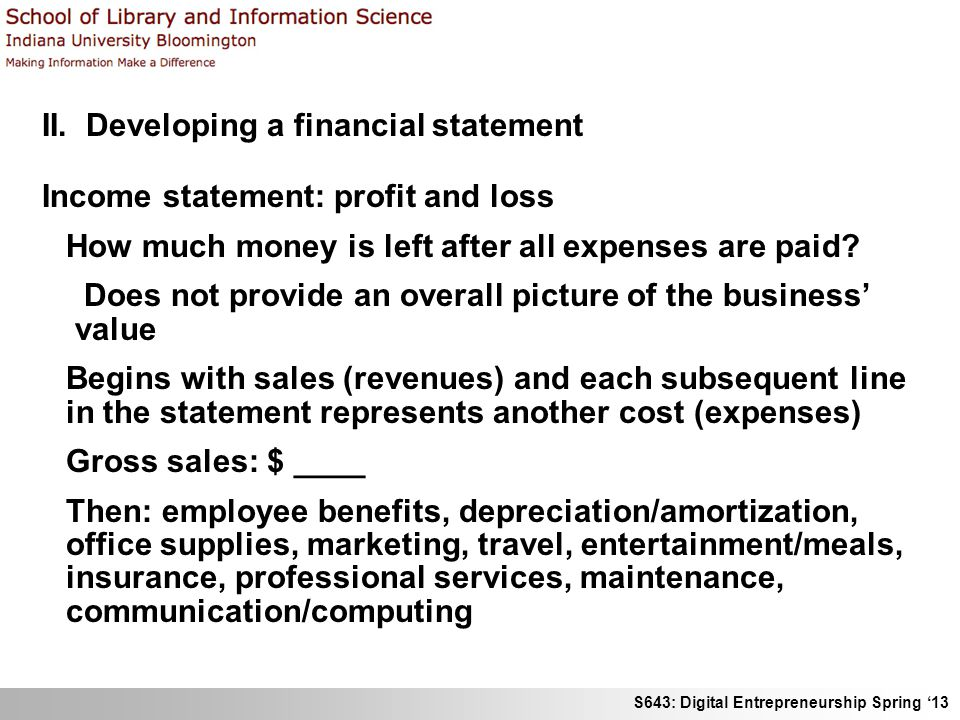 II. Developing a financial statement