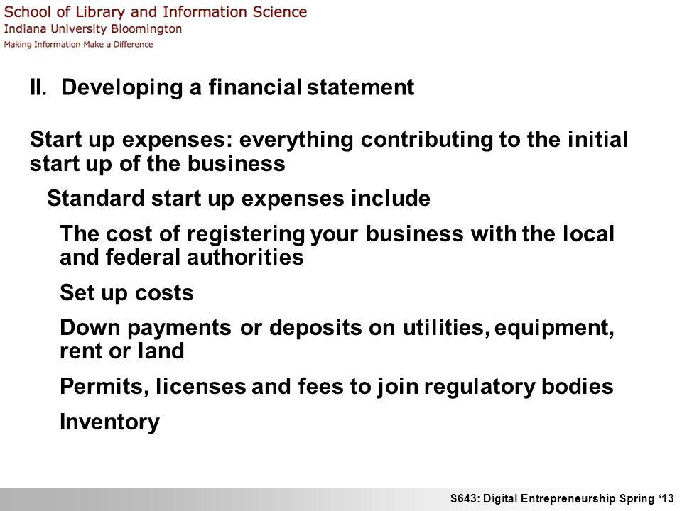 II. Developing a financial statement