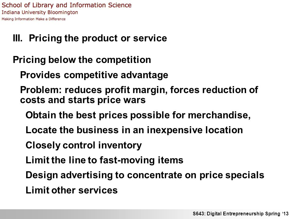 III. Pricing the product or service