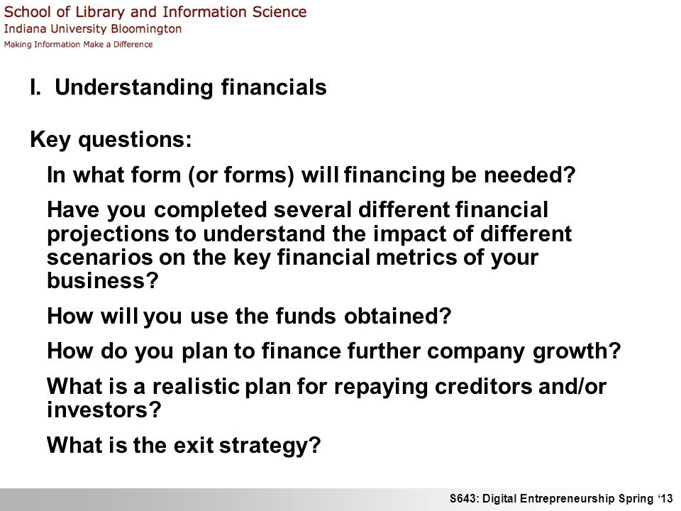 I. Understanding financials