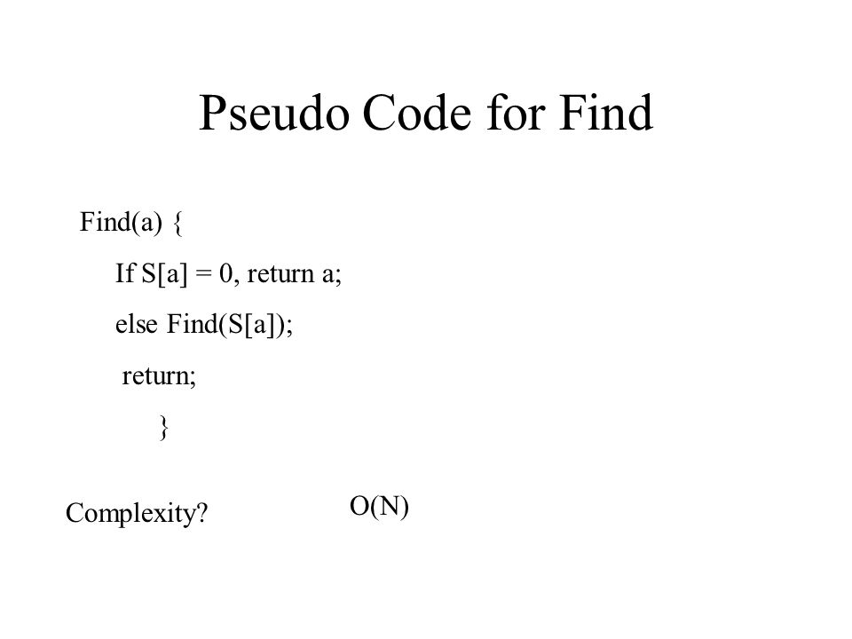 Pseudo Code for Find Find(a) { If S[a] = 0, return a; else Find(S[a]);