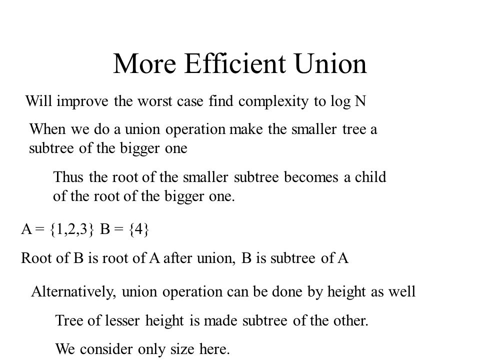 More Efficient Union Will improve the worst case find complexity to log N.