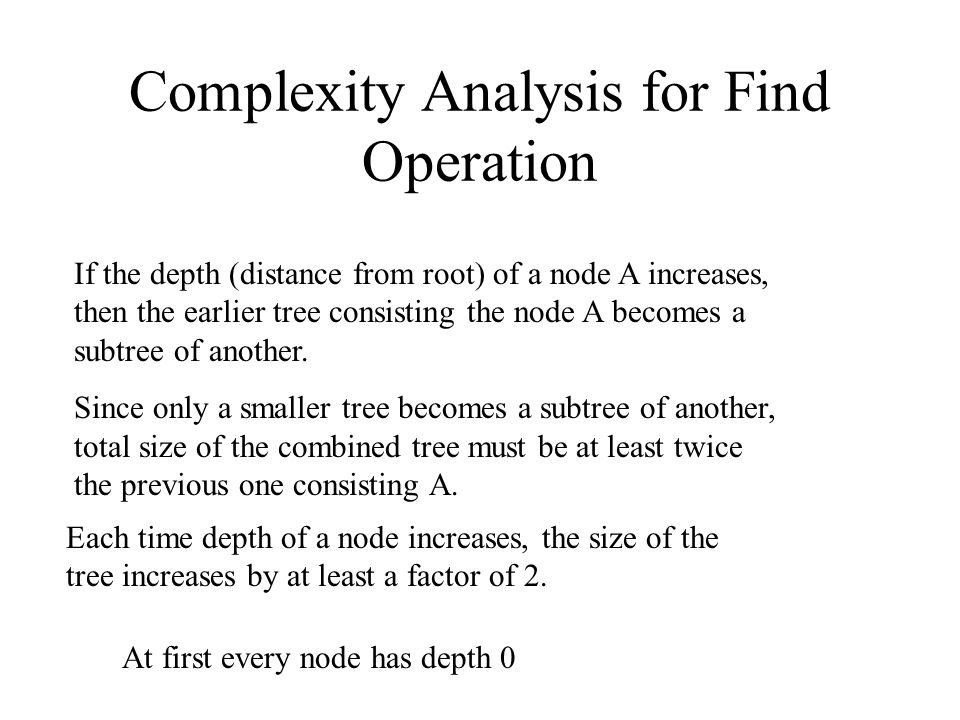 Complexity Analysis for Find Operation