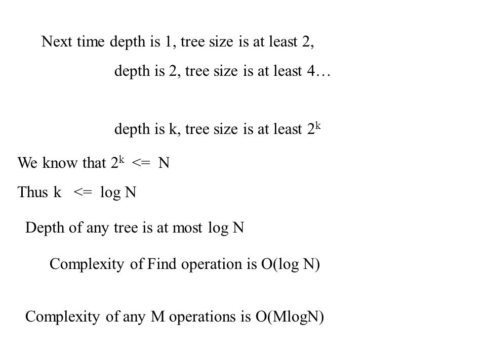 Next time depth is 1, tree size is at least 2,