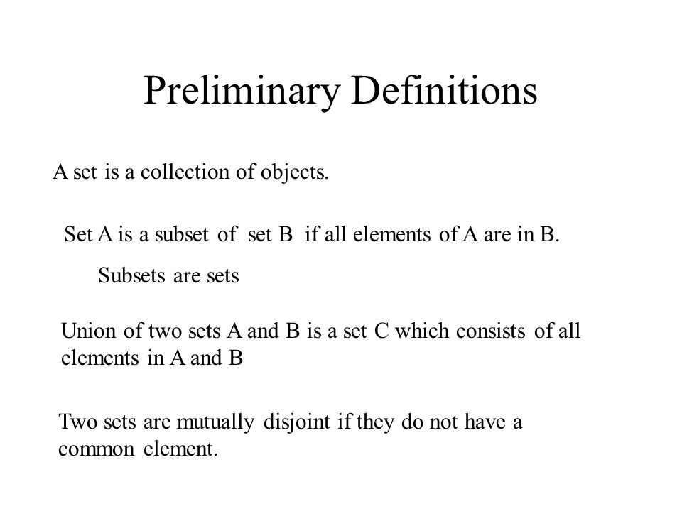 Preliminary Definitions