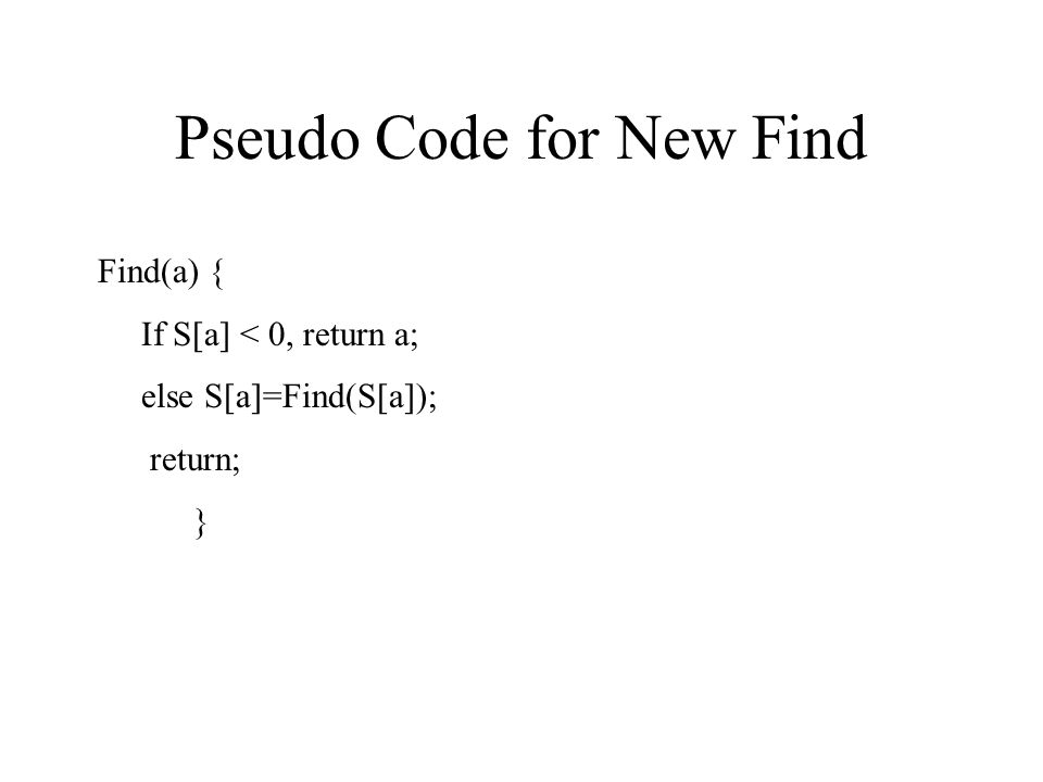 Pseudo Code for New Find