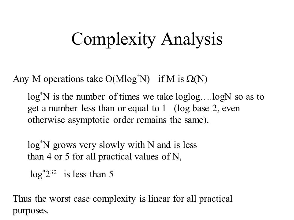 Complexity Analysis Any M operations take O(Mlog*N) if M is (N)