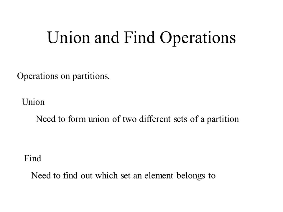 Union and Find Operations