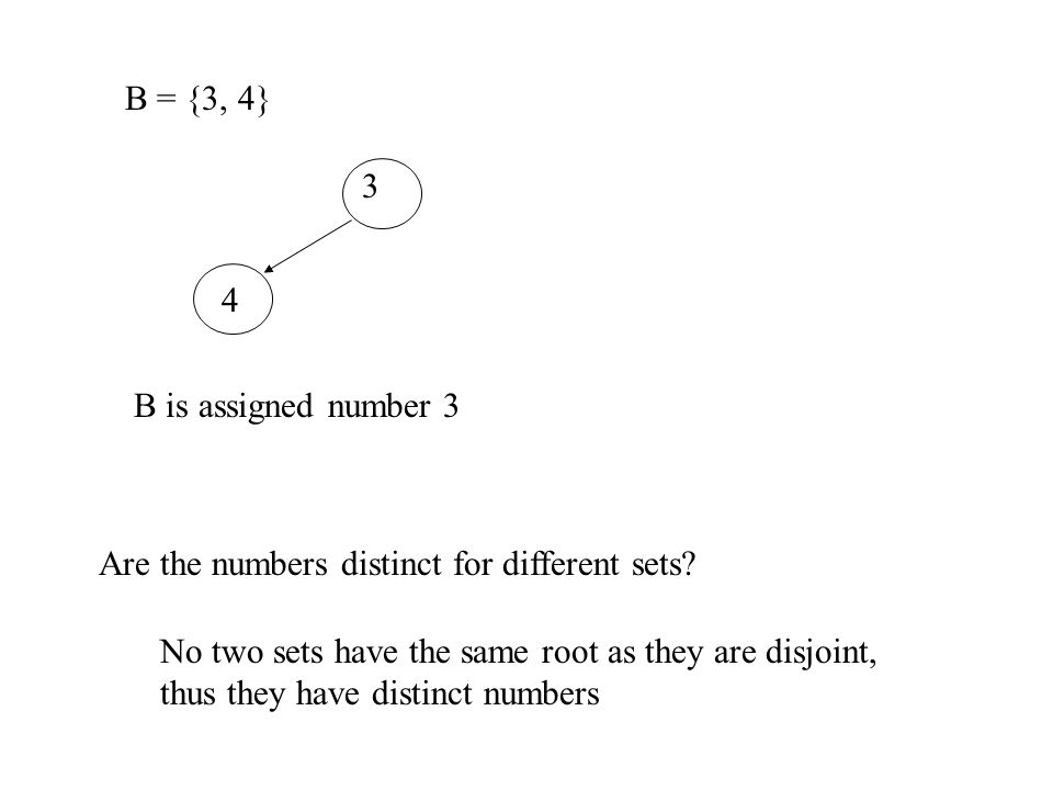 B = {3, 4} 3. 4. B is assigned number 3. Are the numbers distinct for different sets