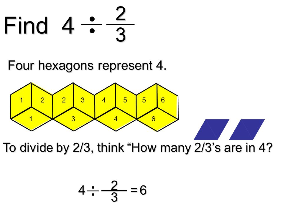 Find 4 2 3 Four hexagons represent 4. 2 3 4 = 6