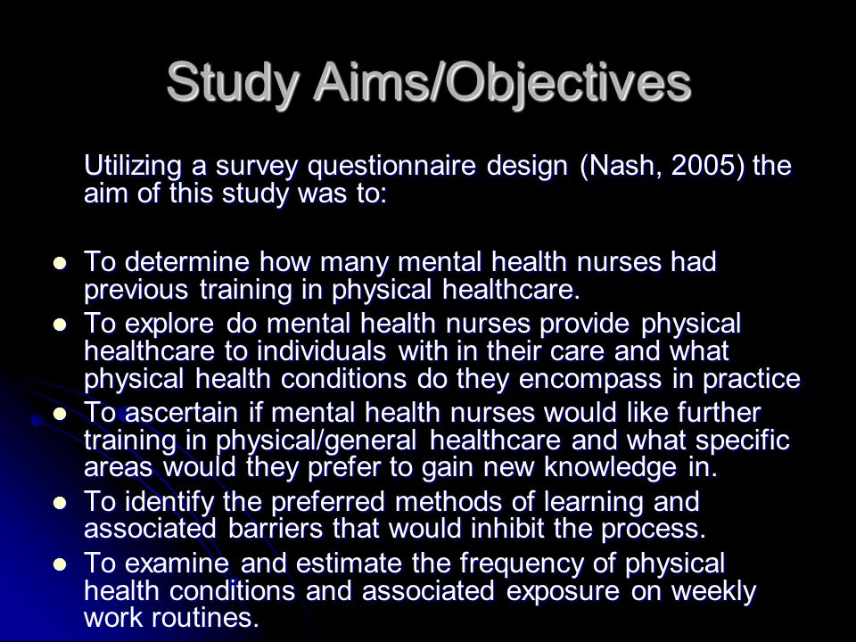 Study Aims/Objectives
