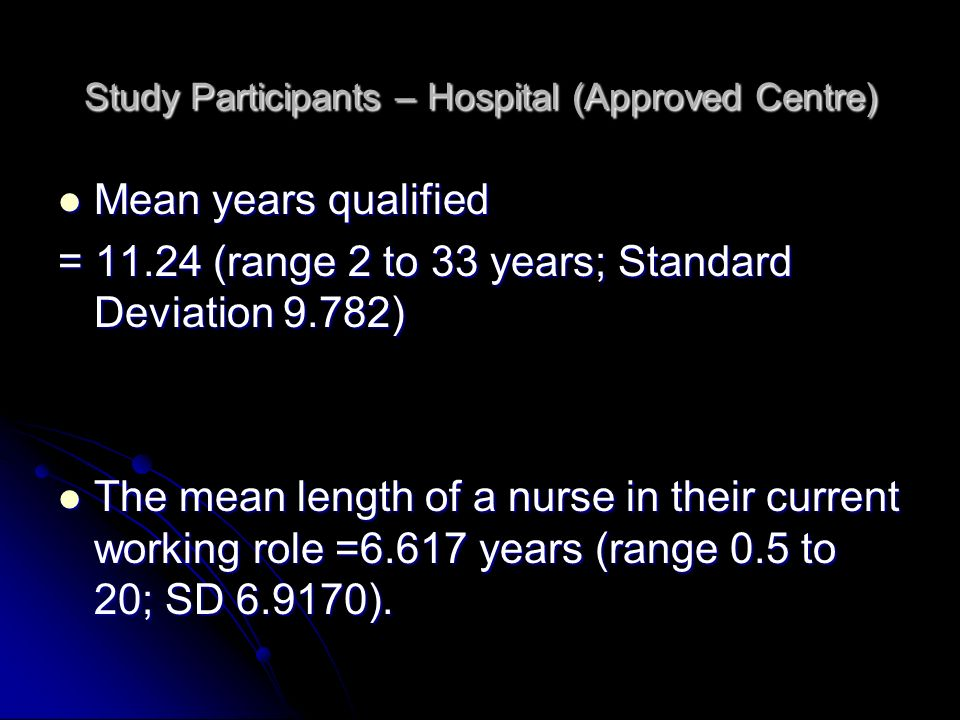 Study Participants – Hospital (Approved Centre)