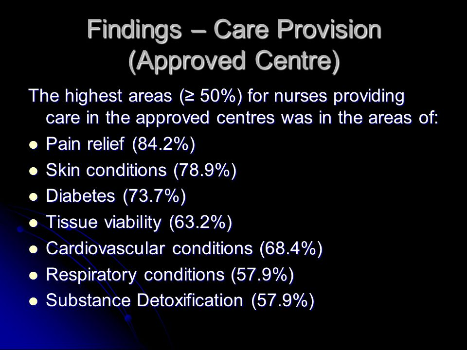 Findings – Care Provision (Approved Centre)