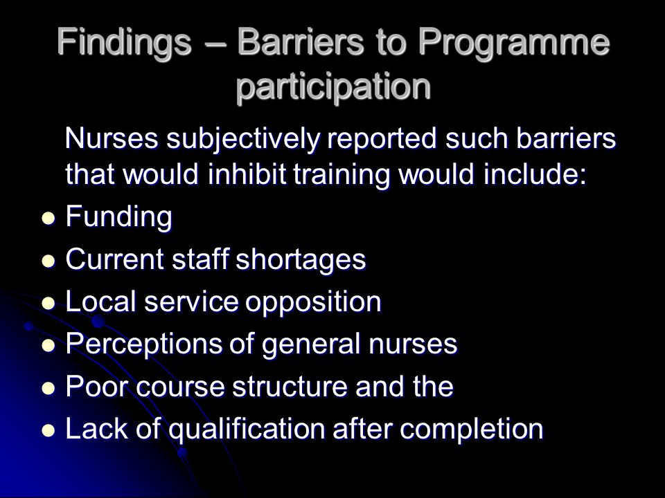 Findings – Barriers to Programme participation